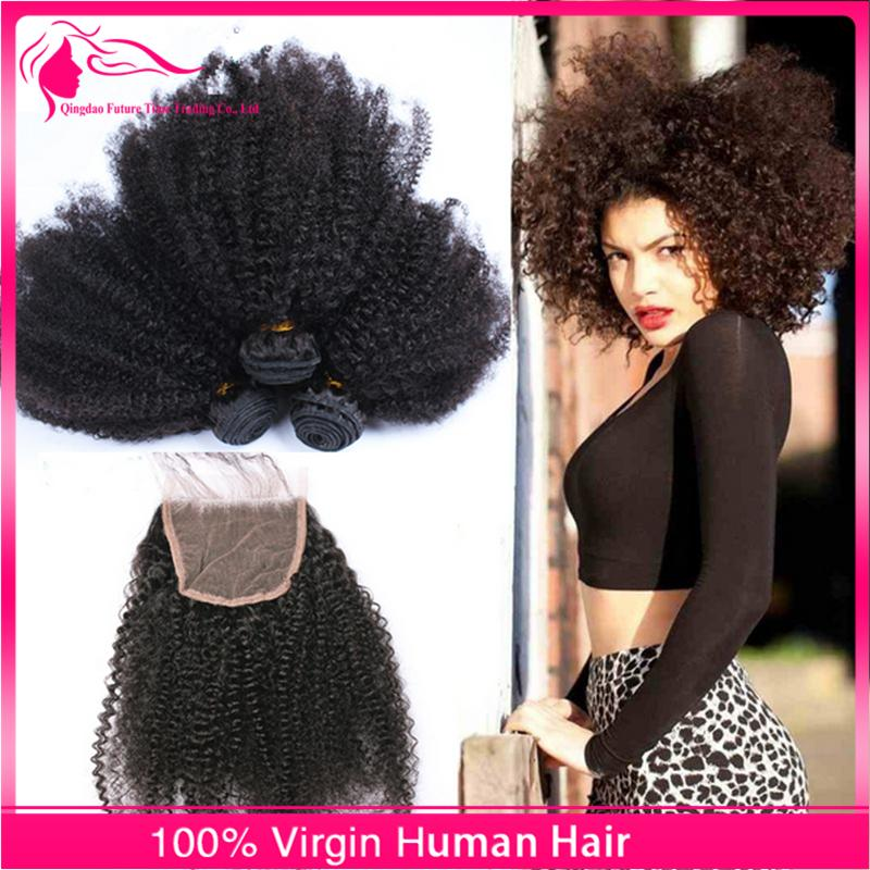 Afro Kinky Curly Hair Bundles With Lace Closure 4Pcs/Lot Brazilian Virgin Human Hair 4x4 Lace Closure With Hair Extensions For Black Woman