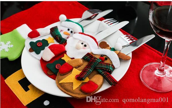 Articoli per feste 13CMX15CM 3Pcs Decorazioni per la tavola Pupazzo di neve Supporti per posate Coltelli e sacchetti per forche Decorazioni natalizie