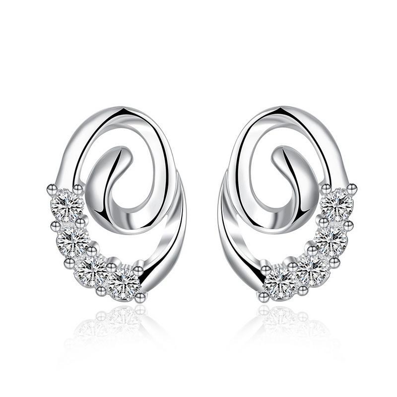 Carino signora gioielli placcato in argento massiccio 925 sterling Swarovski Elements scintillanti orecchini con diamante CZ per i monili delle donne