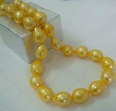 Классический жемчужное ожерелье из натурального южного моря, 11-13 мм, 18 дюймов, 14 К, золото