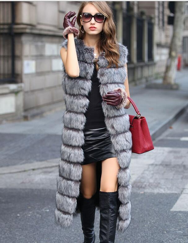 New Winter Women Long Faux Fur Coat 2020 Plus Size Fashion Vests High-Grade Down Coat Long Vest Outerwear Warm Winter Women's Jacket