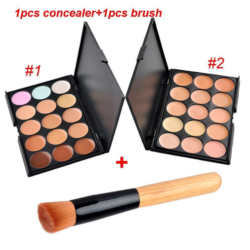 15Colors Concealer Facial Nautral Care Nake Glitter Makeup Palette Set with Beush 1pcs Concealer + 1pcs Brush DHL free