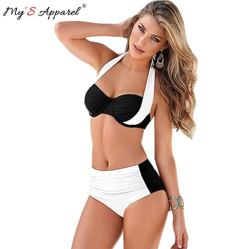 2016 Women Swimsuit Patchwork High Waist Push Up Bikini Set Brazilian Beach Wear Plus Size Biquini Cintura Alta Bathing Swimwear