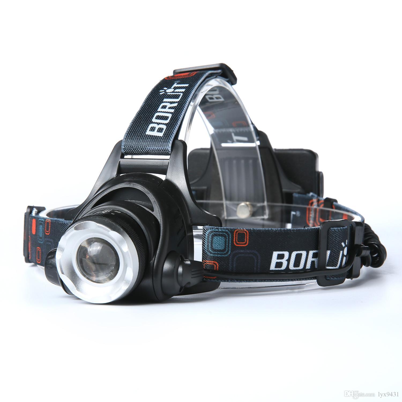 BORUIT 2200LM كري XM-L2 L2 LED زوومابلي 3-وضع 18650 كشافات المصباح المصباح ضوء رئيس مصباح الصيد التكبير
