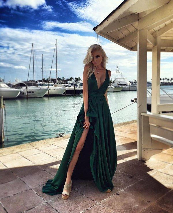Elegant Long Split Evening Dresses Hunter Green Sexy V neck Prom Dresses Fashion Runway Red Carpet Dresses 2016 Cheap Formal Party Gowns