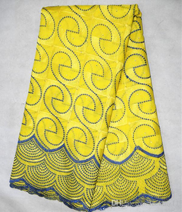 Tela de algodón del color doble del amarillo de 5 yardas / porción, tela africana popular del cordón del algodón para la ropa BC122-5