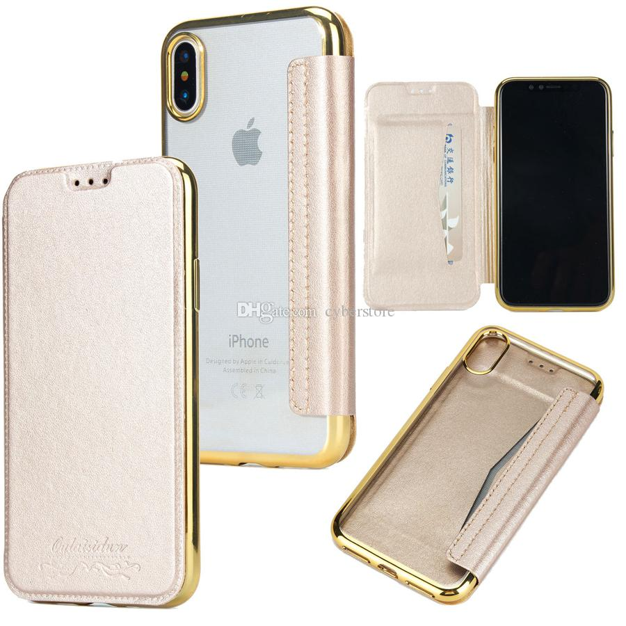 For iphone X XS Max Hybrid Slim Flip TPU Leather Cover Wallet Case With Card Slots for iphone 8 7 6 6S Plus XR