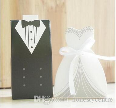 50pairs /lot White and Black Bride and Groom Bridegroom Candy Box Paper Wedding Favors Candy Boxes for Wedding decoration