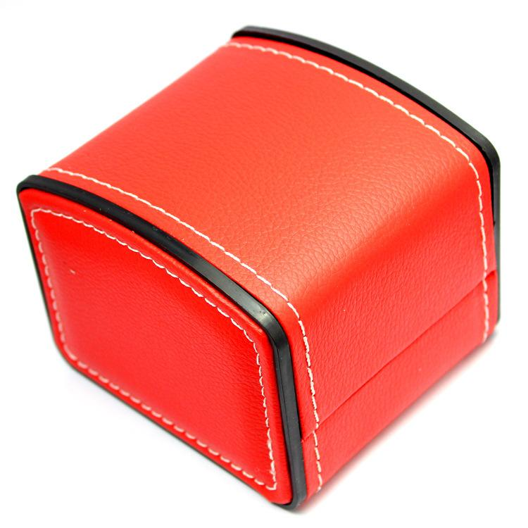 4 pz / lotto Nero / Rosso / Marrone PU learher Cucito OROLOGIO BOXESCASES Scatola di Imballaggio di gioielli Può Mix Colore All'ingrosso Marchio Marchio LOGO