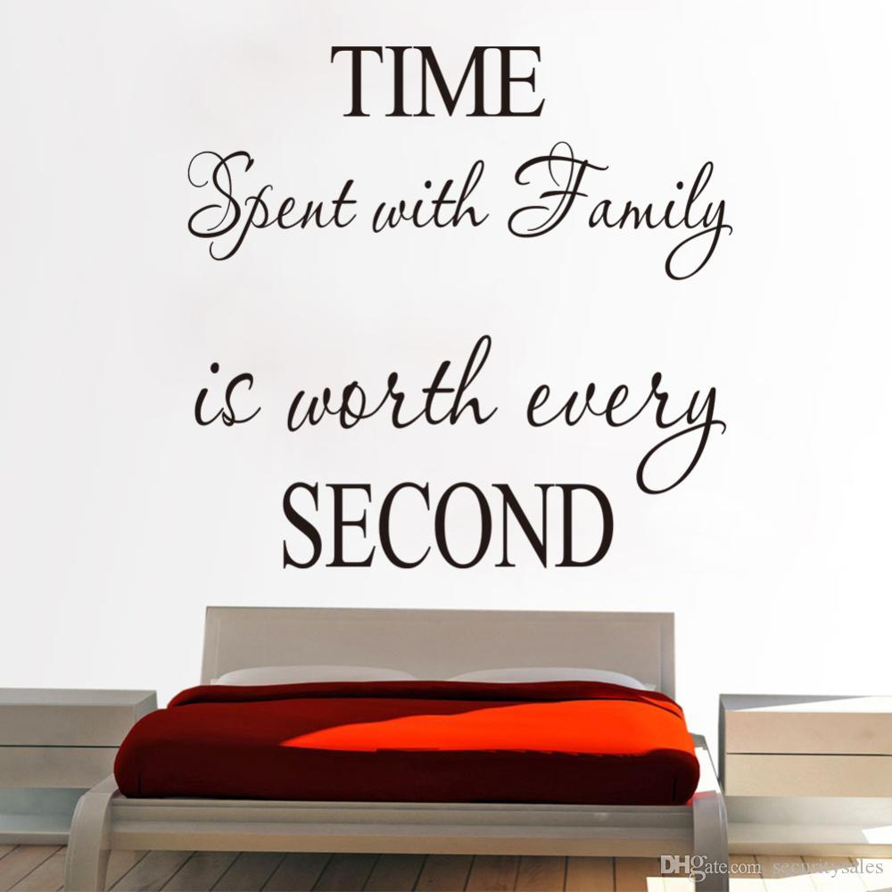 Wall Vinyl Time Second Hand Carved Wall Stickers Removable Waterproof Letters Wall Decal Quotes Home