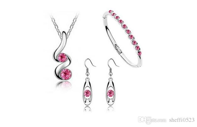 Мода Кристалл Ожерелье Серьги Браслет Ювелирные Наборы Для Женщин 3 Цвета Посеребренные Сплава Марка Ювелирные Наборы A71 + B54 + E27