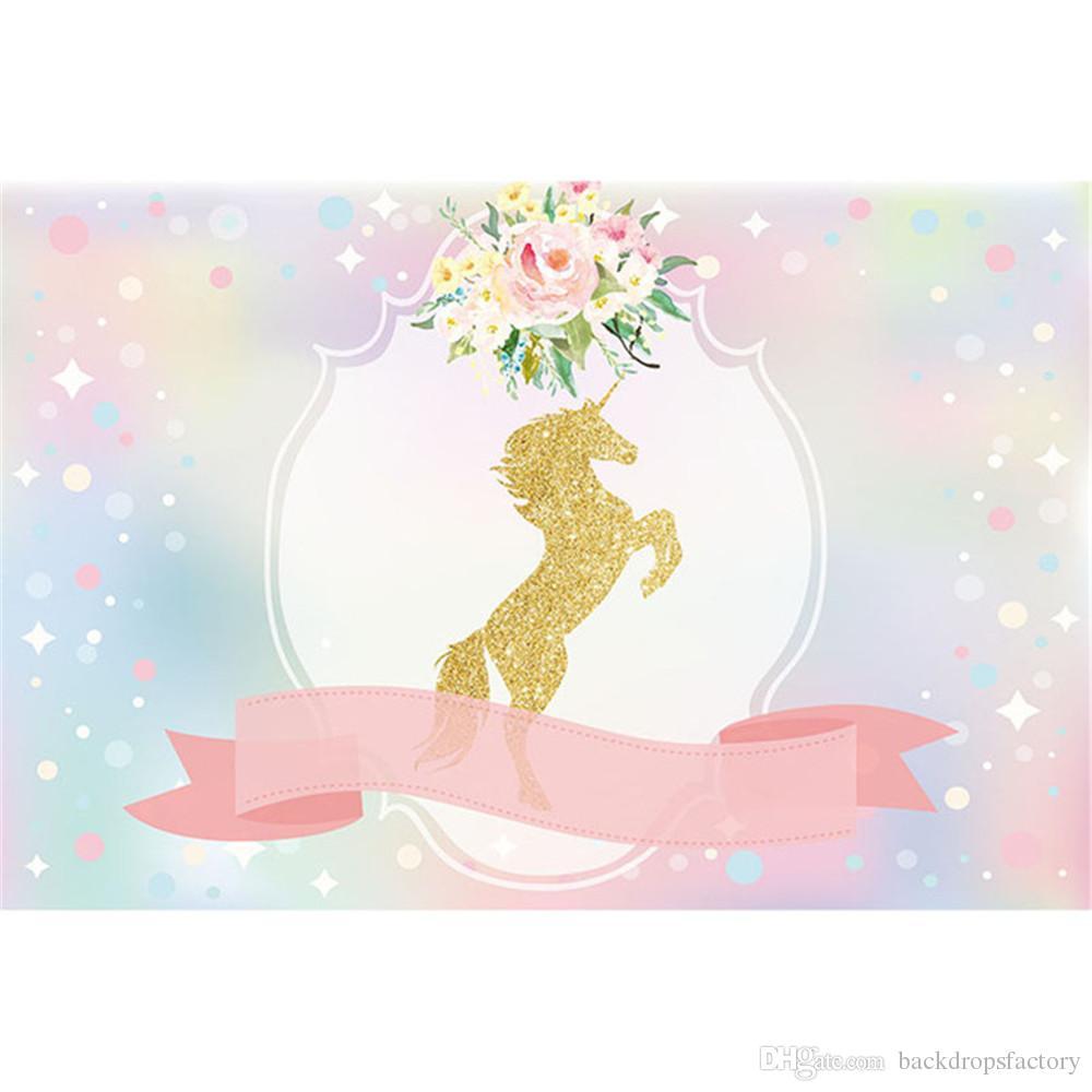 Fotografia de festa de aniversário de unicórnio ouro rosa fita Digital imprimiu flores Bokeh bebê chuveiro foto fundo para estúdio