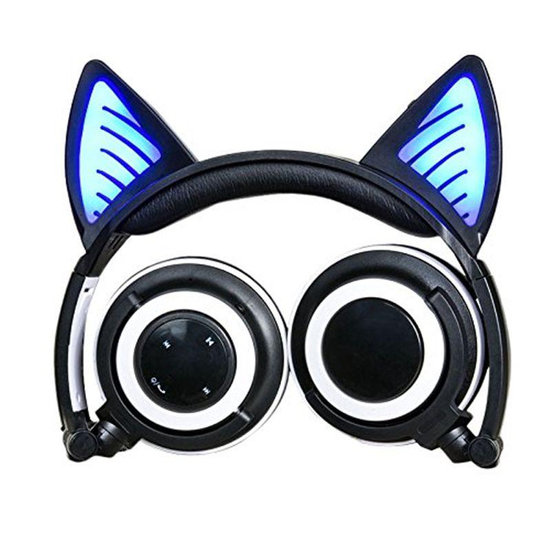 MP3 S8 휴대 전화에 대한 LED 조명 접이식 고양이 귀 블루투스 헤드폰 번쩍 빛나는 헤드셋