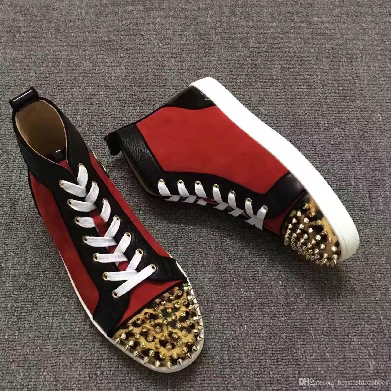 Мужчины женщины шипы toe случайные кроссовки зашнуровать квартиры красное дно кроссовки сапоги Женские унисекс Высокий Верх случайные спортивные кроссовки обувь размер 35-46