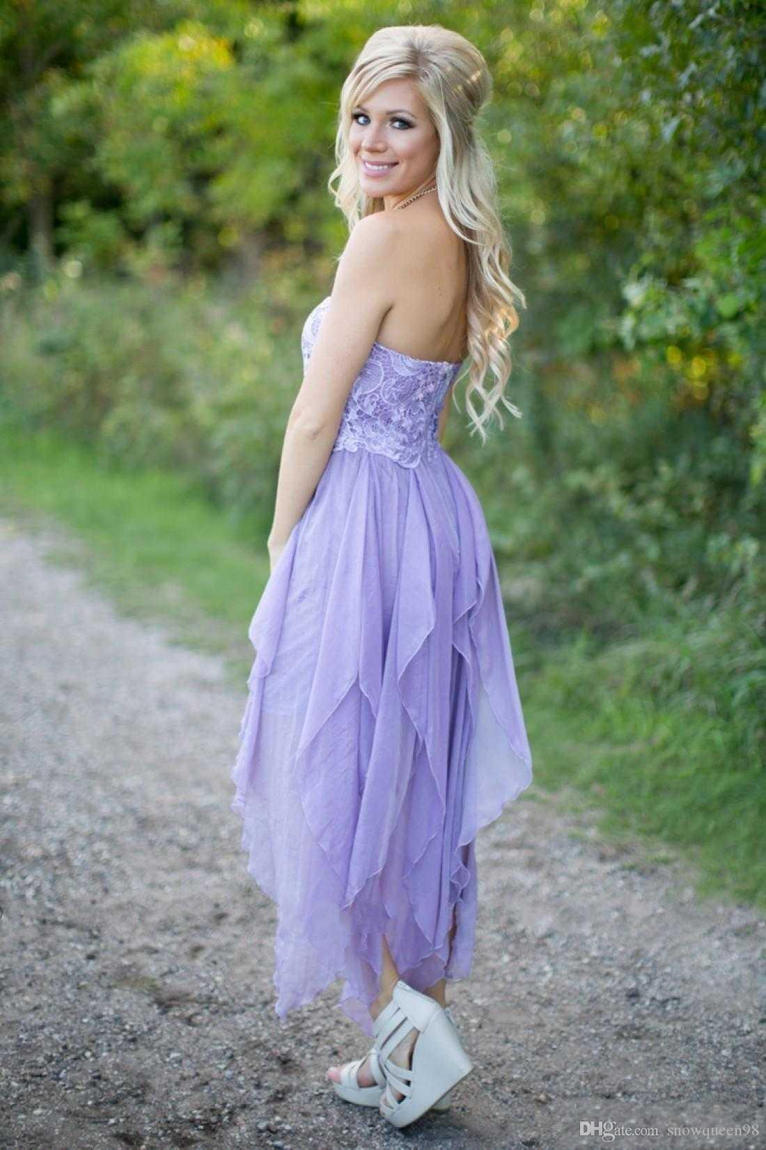 Lavender Country Bridesmaid Dresses High Low Strapless Sleeveless ...