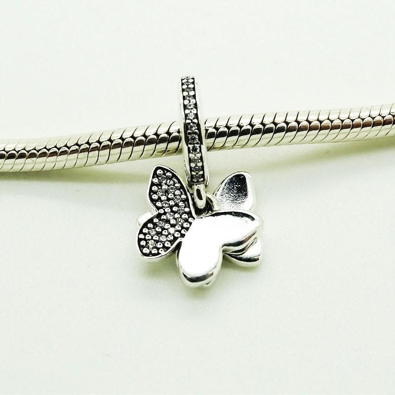 Mariposas revolotean Clear CZ Charms Se adapta a pandora Charms Pulsera Crystal Beads para joyería que hace 925 Sterling Silver Charms