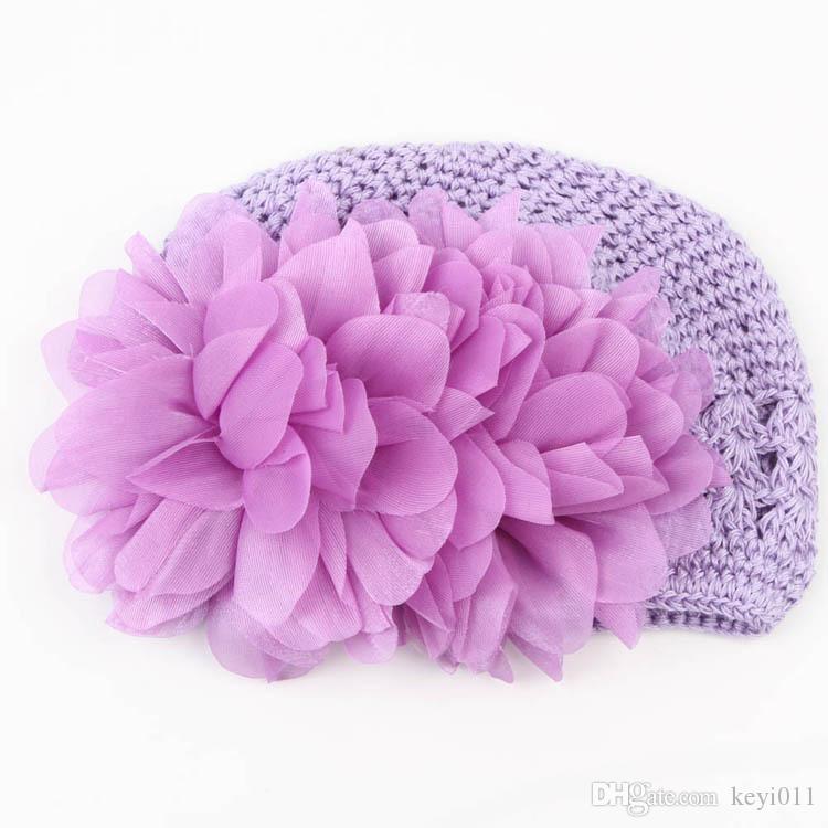 달콤한 꽃 크로 셰 뜨개질 비니 니트 모자 모자 신생아 아기 유아 소녀 따뜻한 수제 모자 4 색 드롭 배송 BB-125
