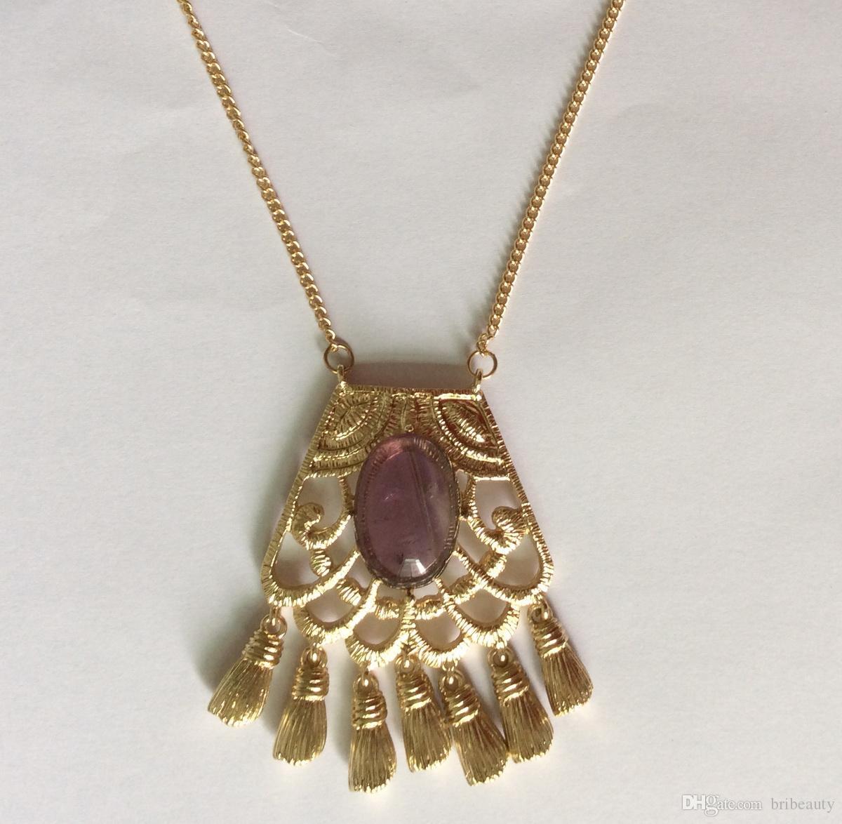 Collana ciondolo semiprezioso ovale bianco collana in metallo con ametista turchese Collana in pietra naturale con pendente in lega di puro mosaico