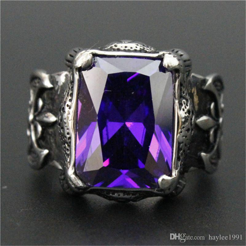 3 unids / lote Nuevo Diseño Enorme Púrpura Rin anillo de piedra de acero inoxidable 316L joyería de Moda Flor Púrpura Anillo Fresco