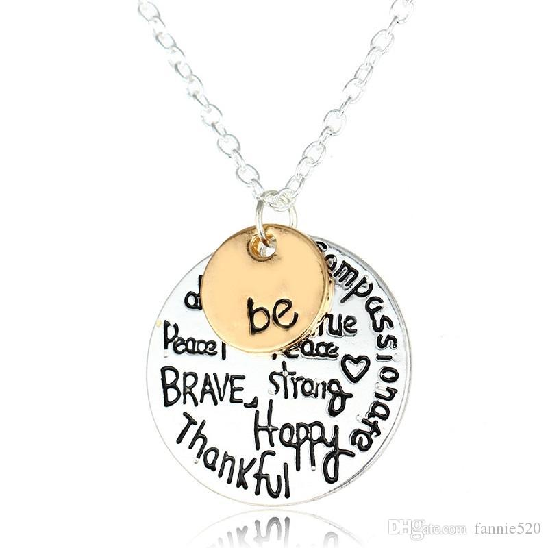 """Two-Tone """"Be"""" Inspirational Necklace Graffiti Charm Pendant Necklace Best Friends Sister Christmas friends Gifts For Women"""