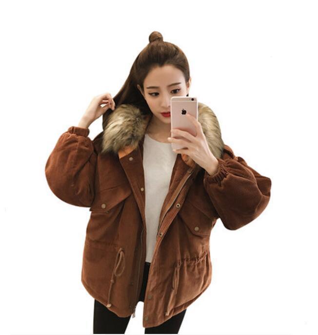 Winter Cord New Baumwolle Lässig Mantel Schweres Kleidung Mit Warmen Kragen Hem Jacke Tether Haar Kapuze Großhandel Frauen Lose oerdCxB