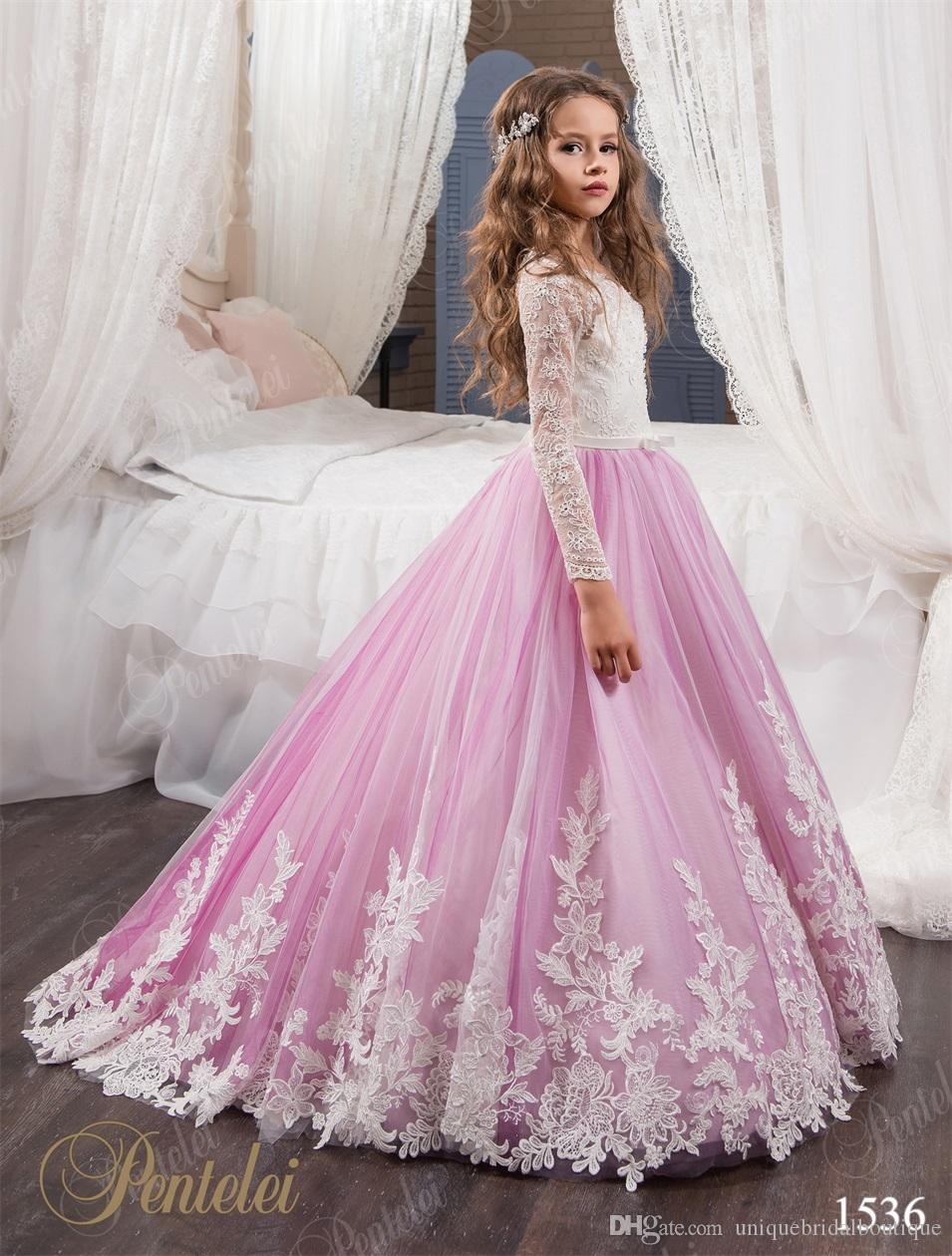 Flower Girls Dresses for Weddings 2019 P entelei with Long Sleeves and Sweep Train Appliques Tulle Flower Little Girls Gowns Light Purple