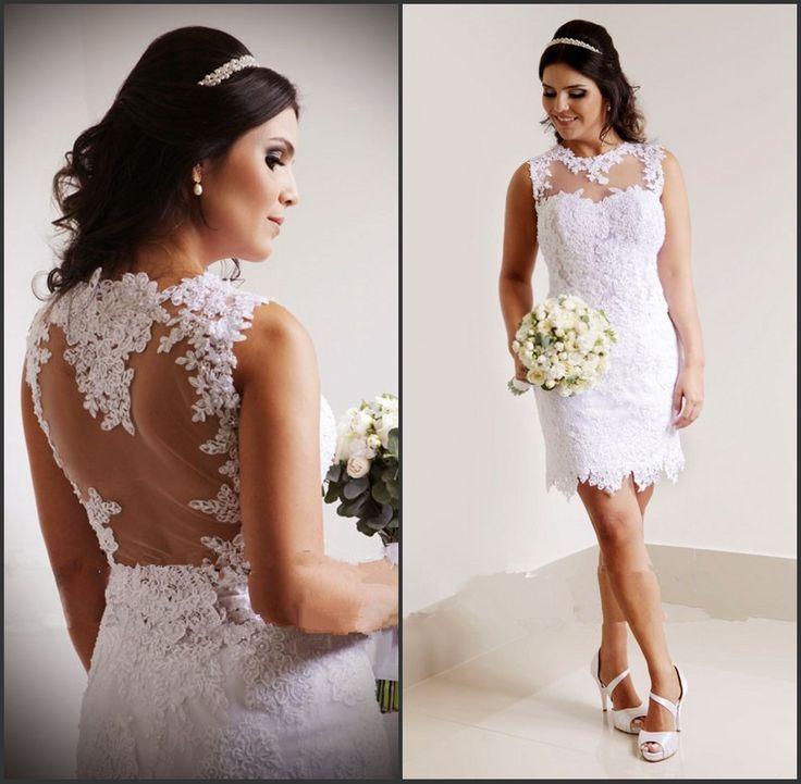 Sexy Sheer Neck Short Brautkleider Benutzerdefinierte 3D-Floral Appliques Country Brautkleider Short Brautkleid Garden Lace Korsett Bridal