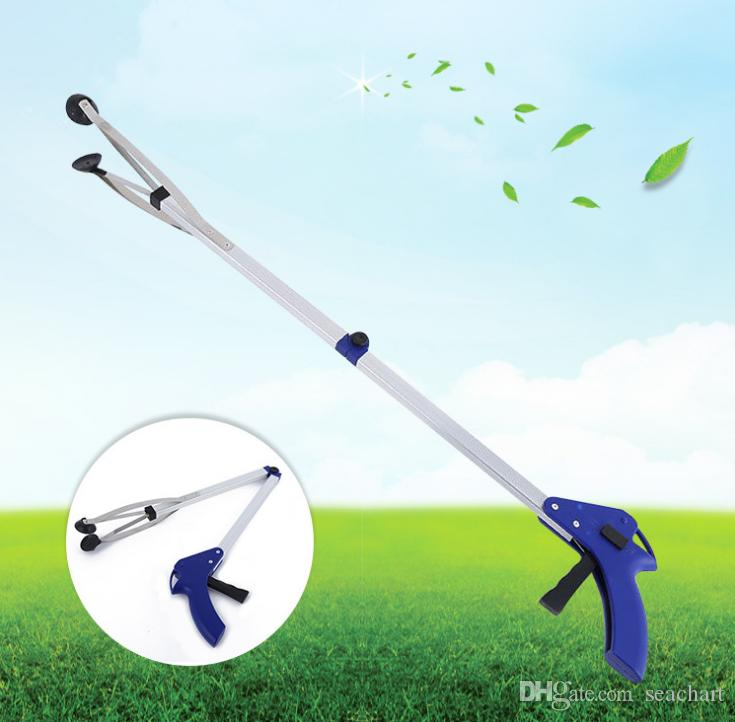 Deluxe folding reacher helping hand with suction cups/lightweight easy carry portable pick up tool reaching tool litter grabber SC049