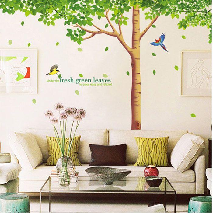 Large Green Tree Birds Wall Stickers Fresh Leaves Wall Decals - Wall decals leaves