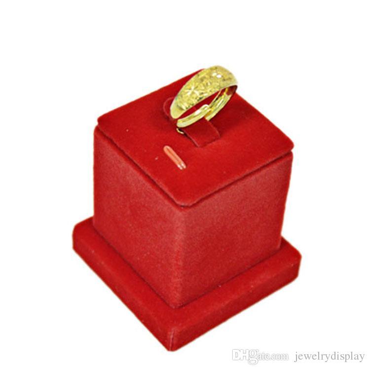 2017 Nova Exibição de Jóias Titular para Anéis Fine Jewelry Stand Expositor Torre em Veludo Vermelho 5 * 5 * 5.5 CM