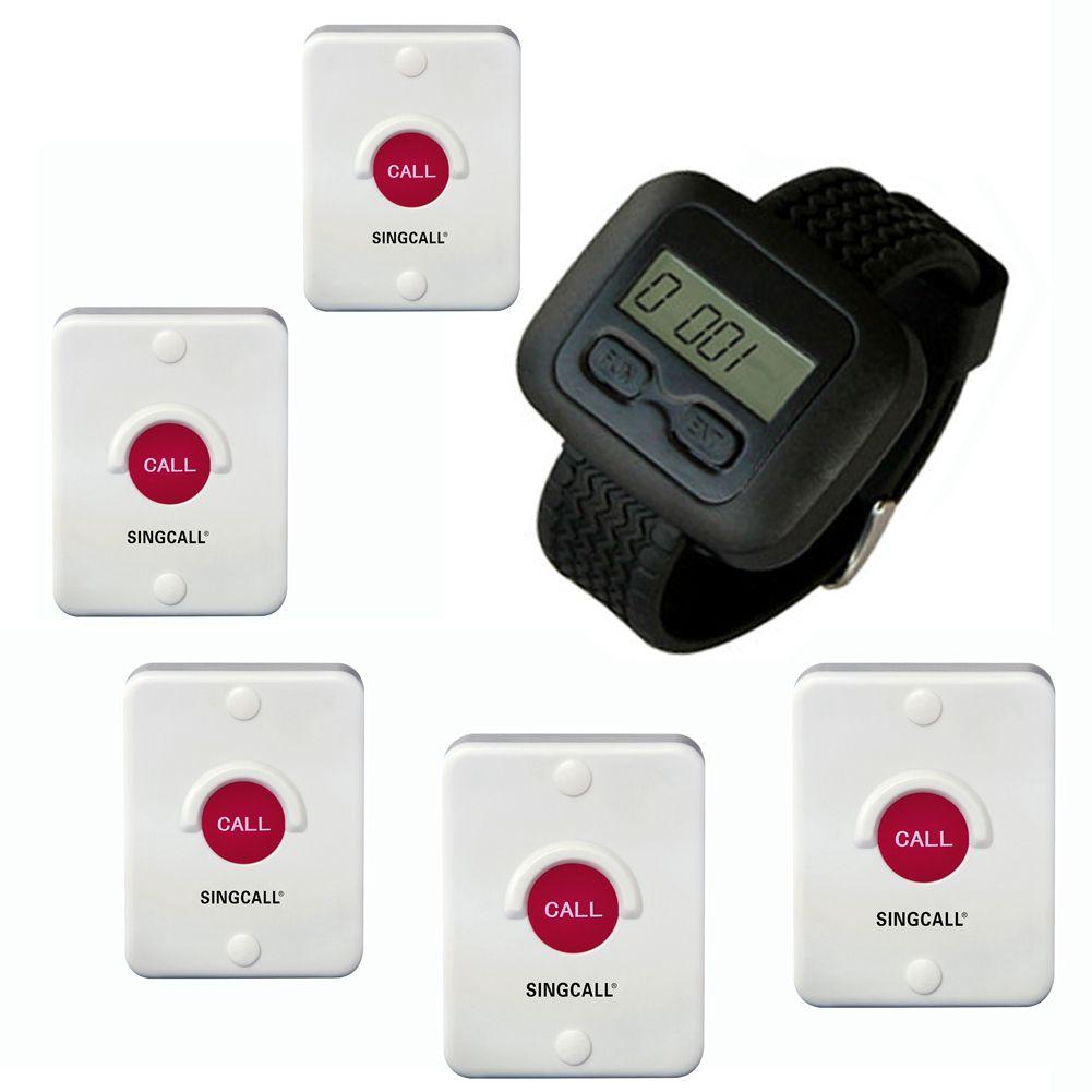 SINGCALL أنظمة استدعاء الممرضات اللاسلكية للمطبخ ، والمستشفيات ، KTV ، ومقهى ، و 5 أجهزة استدعاء ، وأجراس و 1 ساعة للمطعم