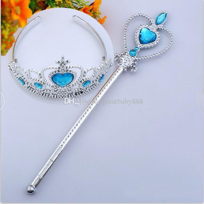 6 cores Princesa Headwear Crown + varinha mágica 2Pcs / Set acessórios Partido Cosplay Princesa Cabelo C1600