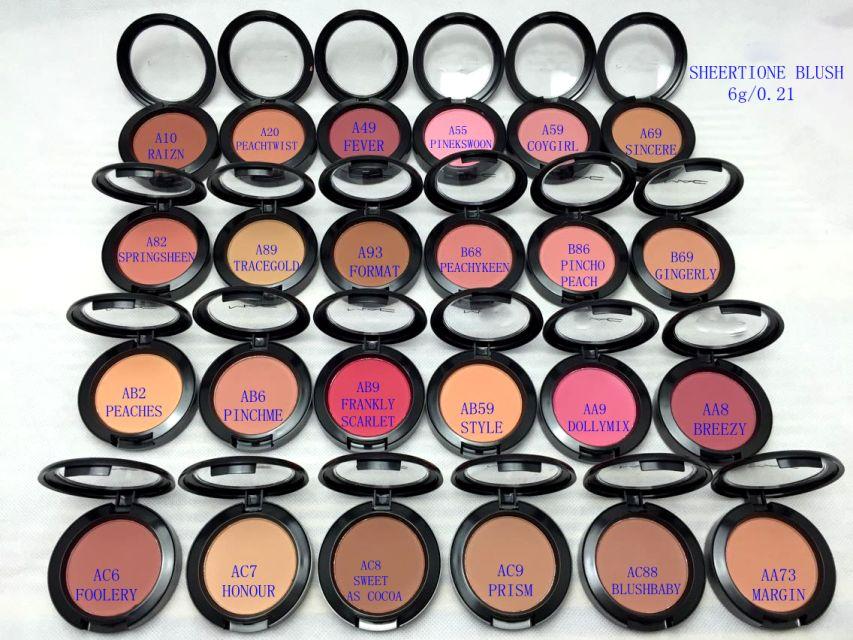 شحن مجاني --- أفضل ماكياج الوجه أحمر الخدود 6G لامع أحمر الخدود 24 ألوان مختلفة مع اسم الانجليزية