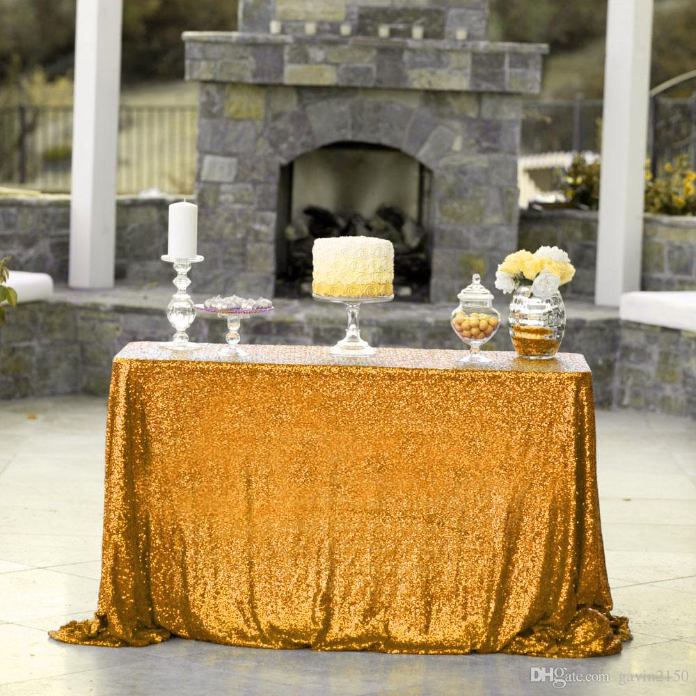 Free Shipping High Quality Rectangular 48*72inch Gold Sequin Table Cover Tablecloth For Wedding Banquet Party Decoration