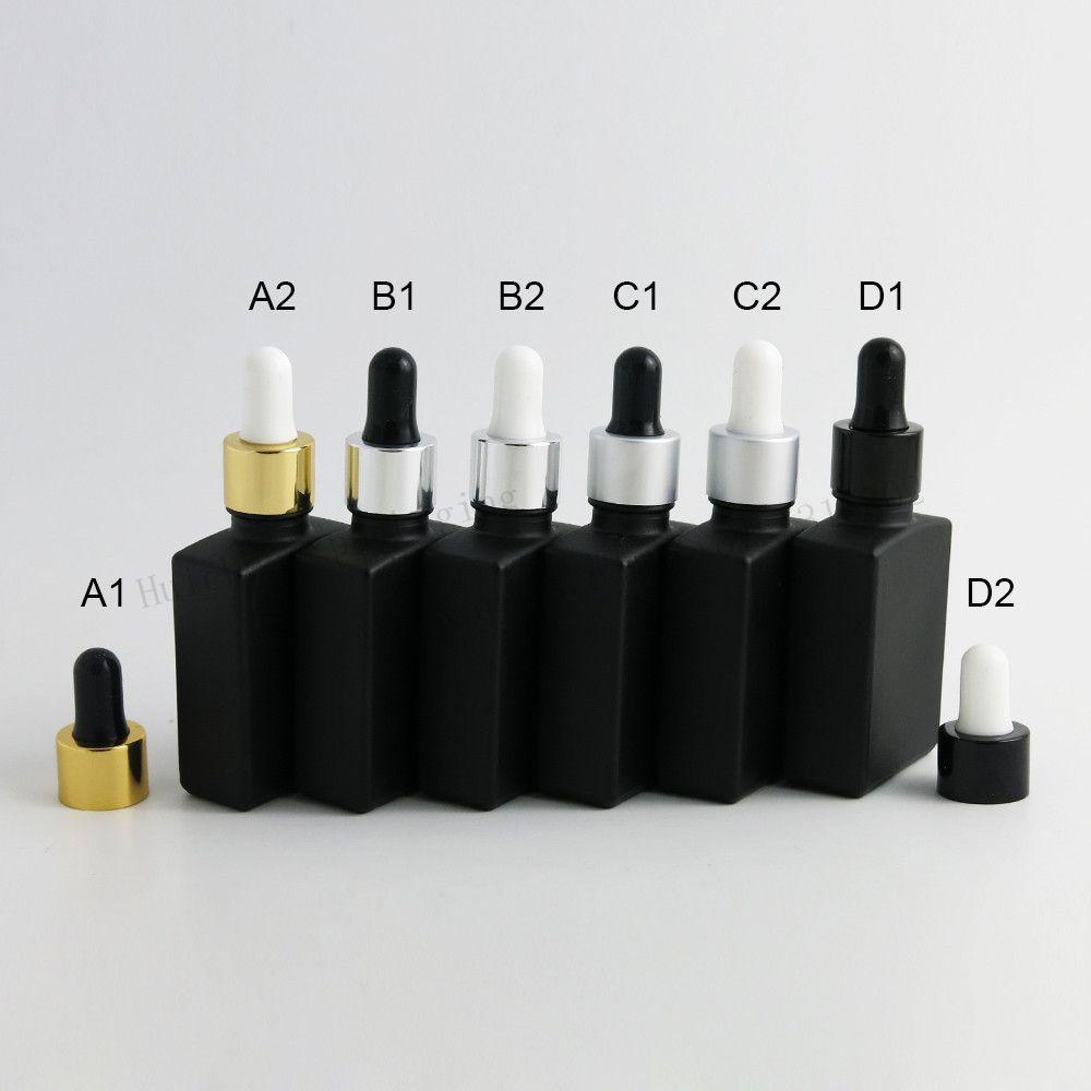 12 x 30 ml 빈 프 로스트 블랙 스퀘어 플랫 유리 병 알루미늄 Dropper 1 온스 유리 Dropper 컨테이너