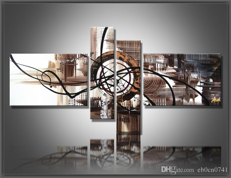 Combinação 4 pçs / set lona pintura a óleo abstrata marrom e branco decoração da parede de presente pintados à mão fotos