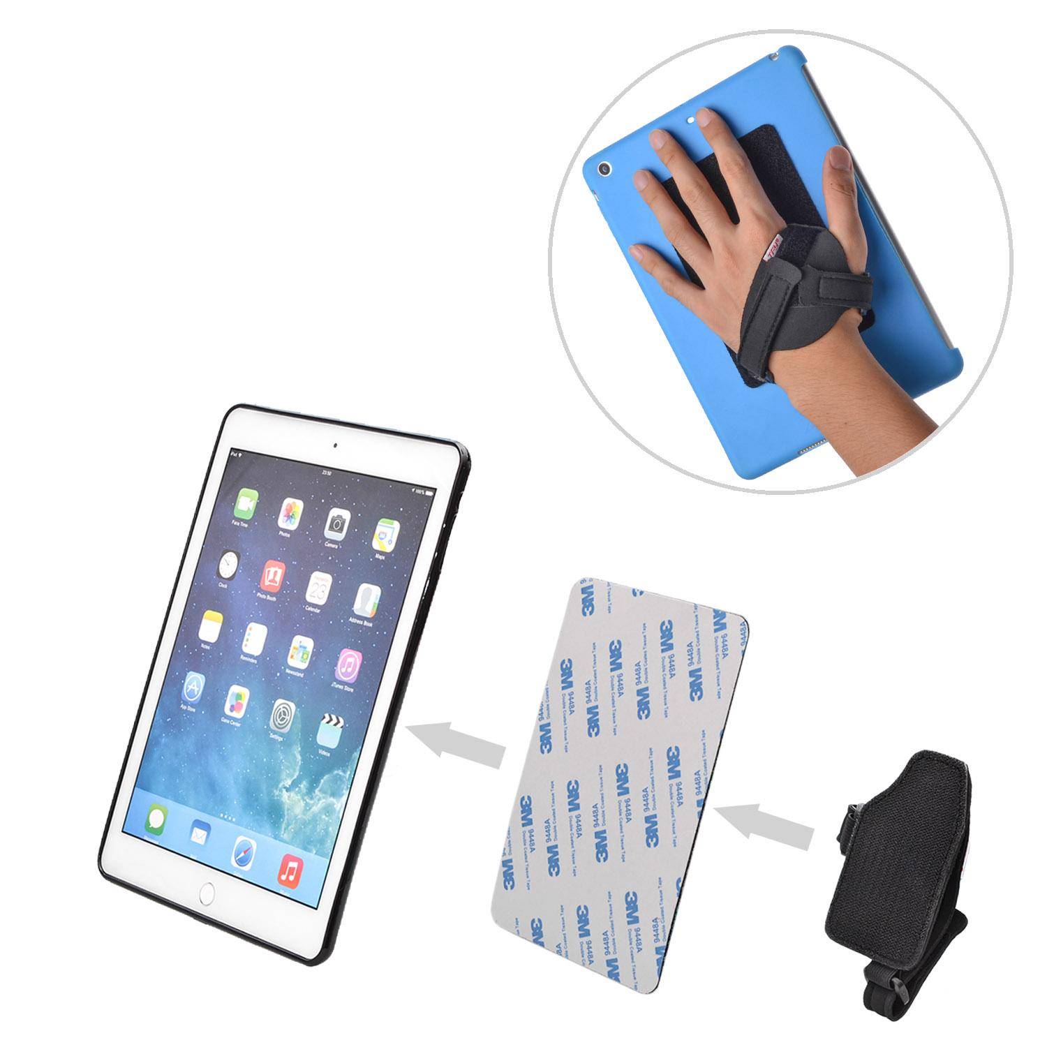 TFY Hand-Strap plus Hook & Loop Fastening Tape Adhesive Patch - DIY Detachable Hand-Strap for Smartphone, Tablet PC and More