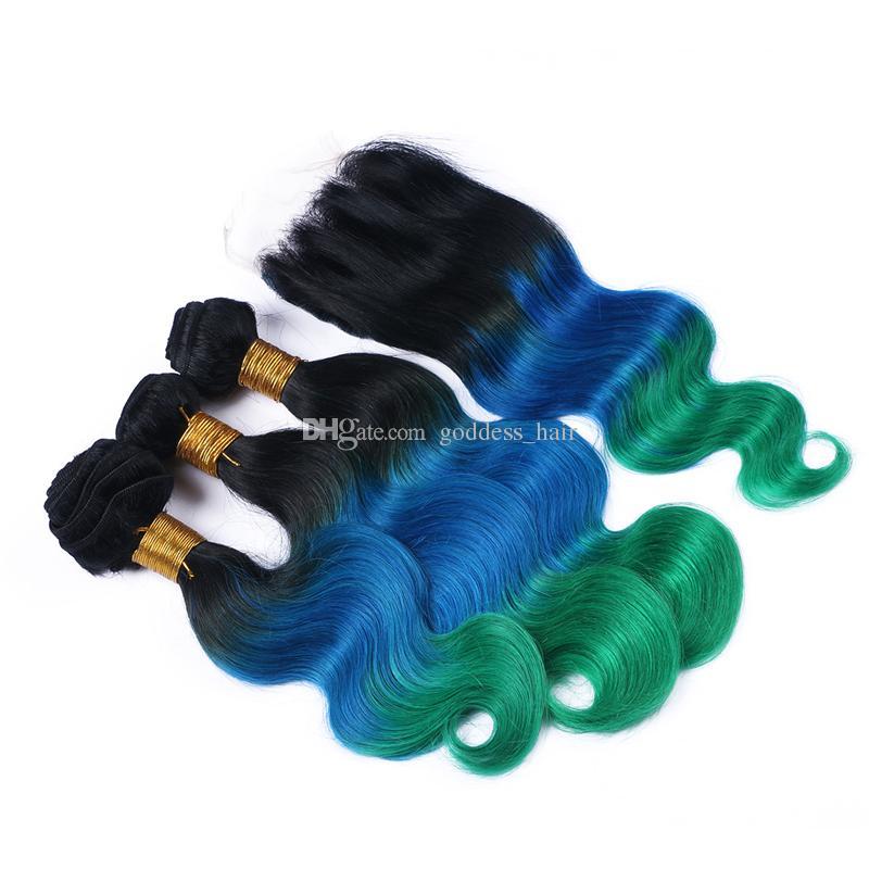 Recién llegado de 3 tonos de encaje con paquetes de pelo # 1B / azul / verde brasileño 9A Ombre de pelo humano con cierre de encaje 4pcs / lote