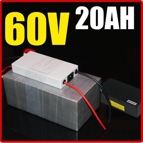 Bateria de lítio de 60V 20AH, com 1500W BMS Chargrer, RC bateria de energia solar E-bike Scooter de bicicleta elétrica 67.2V bateria