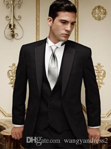 Heißer verkauf Maßgeschneiderte Hochzeit Anzüge Schwarz Bräutigam Smoking Hübscher Anzug Formelle Anzüge Best Man Groomsman anzüge (jacke + Pants + Weste)