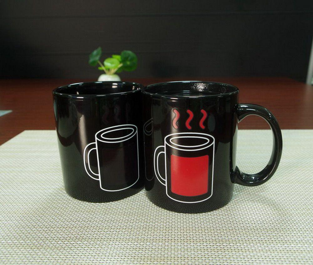 DHL LIBERA il trasporto 48 pz articoli da regalo rosso tazza di caffè in ceramica magica calore sensibile al calore che cambia tazza tazze di tè