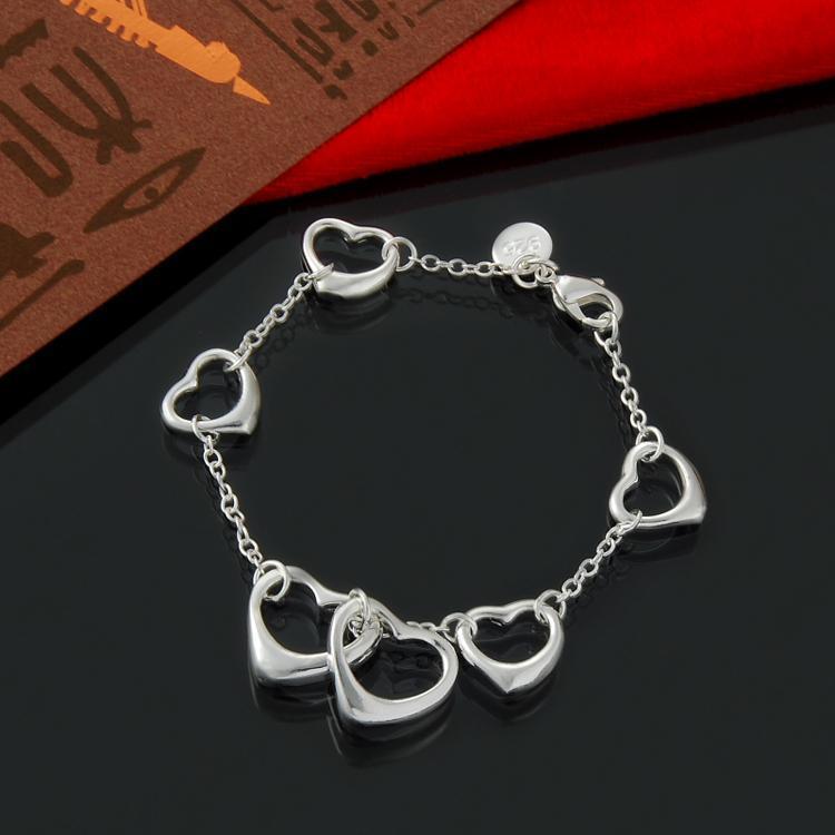 Envío gratis forma de corazón 925 pulsera de plata esterlina joyería de plata al por mayor