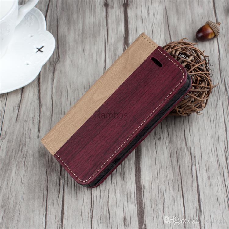 Telefone celular Retro telefone de madeira acessório de couro carteira de couro flip capa para iphone 5 5s 6 6