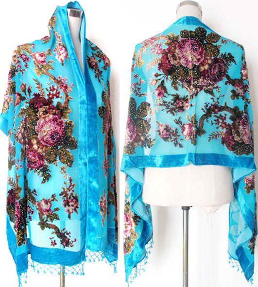 Beaded Silk Velvet feeling Nylon rayon Burn Out Duster Opera Shawl Scarf Wrap Ponchos beaded 6pcs/lot #1725