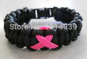 Envío gratis 10 unids / lote blacle pulsera de Paracord conciencia del cáncer de mama