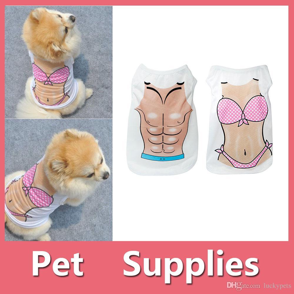 Pet Puppy Dog Cat Thin Bikini Muscle Vest T-Shirt Creative Apparel Clothes