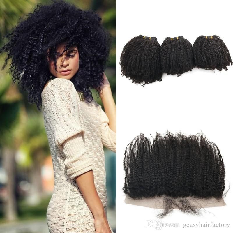 Afro Kinky Curly Human Hair Wefts 3pcs With Ear to Ear Lace Frontal Closure 13x4 Peruvian Virgin Hair Lace Frontal LaurieJ Hair