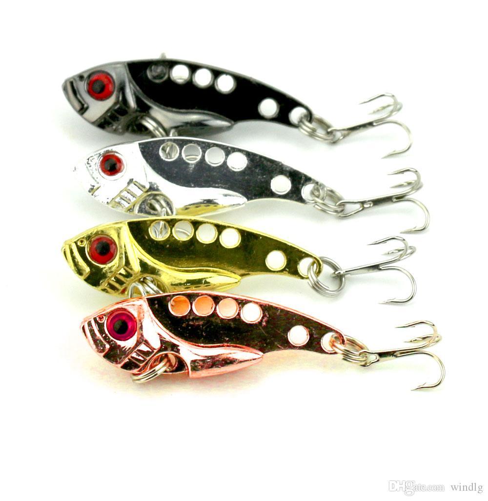200pcs señuelo de la hoja 4 CM 7G metal VIB cebo duro Bass leucomas del tipo de pez Minnow Equipos de pesca envío libre VIB015