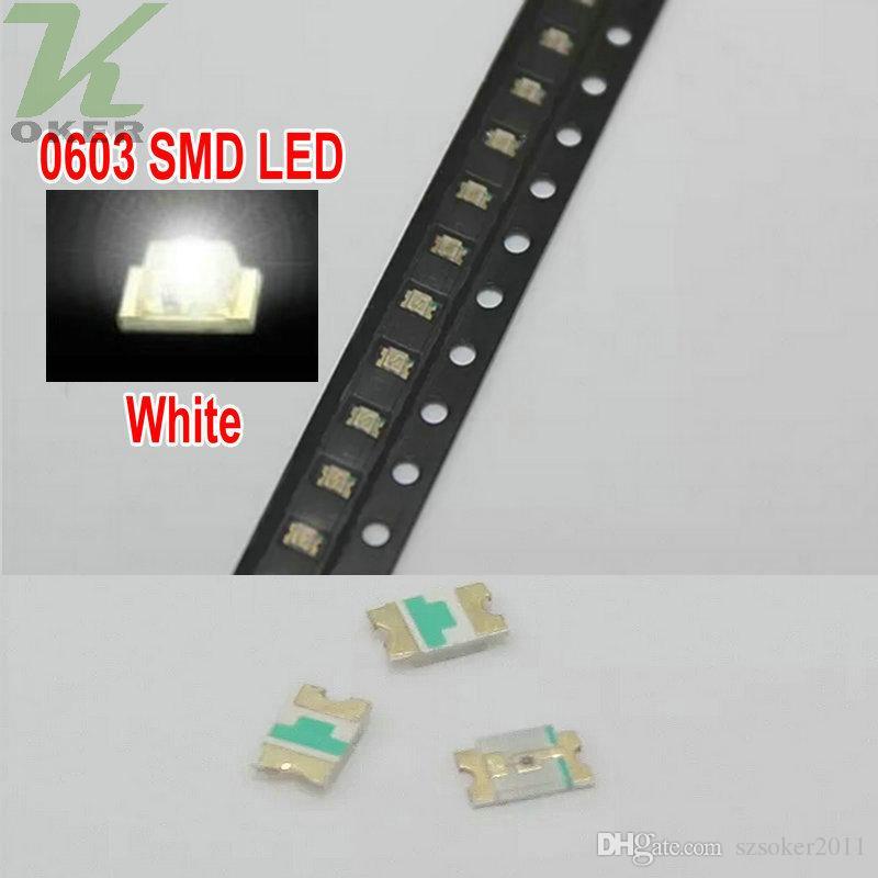4000 PC / 릴 SMD 0603 화이트 LED 램프 다이오드 울트라 밝게