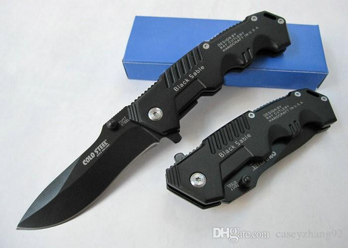 Promotion!!High Quality Cold Steel HY217 Pocket Knife Folding Black Blade Knife 20cm Camping Knives Steel Handle